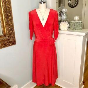 Eliza J Red V Neck Belted Wrap Dress New